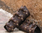 Oiled Brown Leather Bracers with Top Straps, Scales and Antiqued Brass Hardware