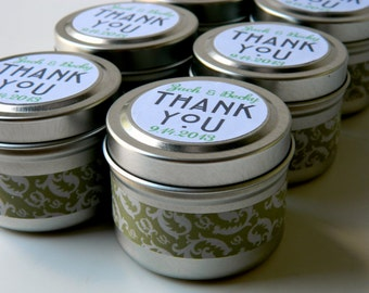 Custom Bridal Shower Thank Yous  / Qty 25 Bridal Shower Soy Candle Favors / Wedding Favour / Fall Winter Wedding