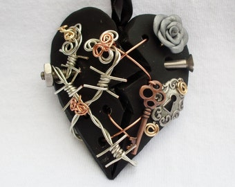 Necklace Broken Heart Polymer Clay Silver Rose Barbed Wire