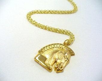 Vintage Trojan Horse Necklace DEADSTOCK