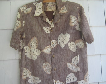 Vintage Shirt Hawaiian Brown Tropical Leaf Cooke Street
