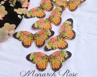 Monarch Rose Silk Butterfly Hair Clip