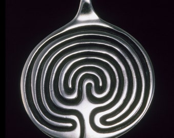 Labyrinth Pendant / Necklace, Sterling Silver Symbolic Jewelry, Spiritual - Sacred Symbols Collection