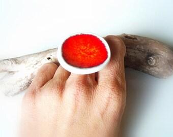Red Statement ring fashion jewelry ceramic