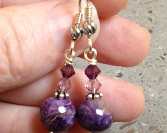 Purple Charoite and Swarovski Crystal Earrings - Lavender Gemstone and Sterling Silver