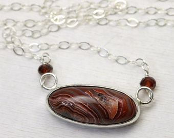 Stunning Silver Necklace with custom Crazy Lace Agate Gemstone in Red and Cream