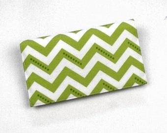 Chevron Checkbook Cover, Duplicate Checks, Pen Holder, Lime Green Check Book Cover, Cotton Fabric, Cheque Book Cover
