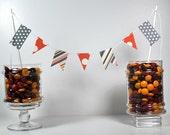 Custom Orange Dots and Chevrons Multi Shape Flag Pennant Cake Banner Set of 4