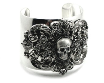 Gothic Bracelet - Skull Wrist Cuff - Menace - Layered w/ Antiqued Sterling Silver Plated Filigree Cross by Ghostlove