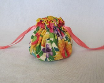 Travel Pouch - Medium Size - Drawstring Bag - Traveling Jewelry Tote - FLORAL SURPRISE