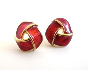 Vintage 80's Avon // Candy Red Ribbon Earrings