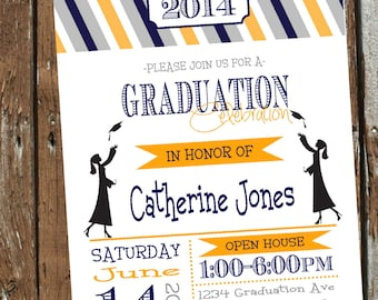 Stripes Graduation Party GIRL Invitation pick YOUR school colors - Print Your Own