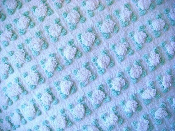 Morgan Jones Rare White Rosebud Vintage Chenille Bedspread Fabric