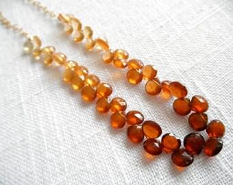 Hessonite Garnet necklace - gold necklace - ombre necklace - V I D A  260