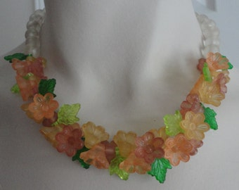 Vintage Small Flowers and Leaves Pink, Peach, Yellow AcrylicChocker Necklace 60s