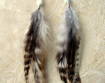 Beaded Feather Earrings - Natural Ivory, Brown and Black Feather Earrings