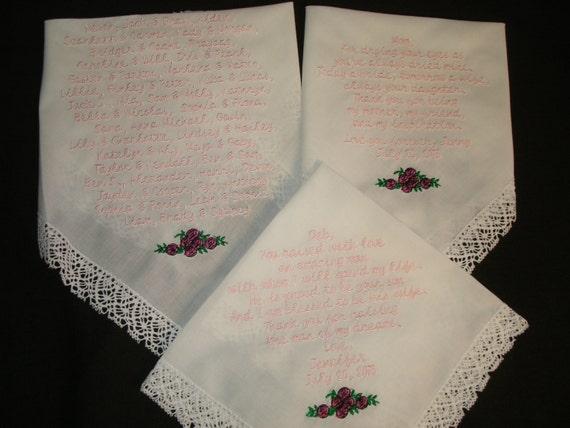 Wedding handkerchiefs with your poems set of by