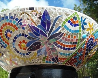 Mosaic Ice Bucket - Plant Stand - Party Bowl holds 30 bottles  - mosaic leadlight glass bright colours