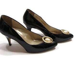 Vintage Black Patent Leather Pumps Black Patent Leather Pointed Toe Pumps Black Patent Pointed Heels Classic Black Patent Leather Pumps