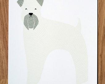 Wheaten Terrier Illustration, Wheaten Dog Print, Dog Illustration, Dog Portrait, Pet Portrait, Dog Lover, Personalized Pet Print