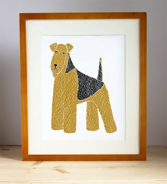 Airedale Illustration, Airedale Print, Dog Print, Dog Illustration, Dog Portrait, Pet Portrait, Dog Lover, Personalized Pet Print