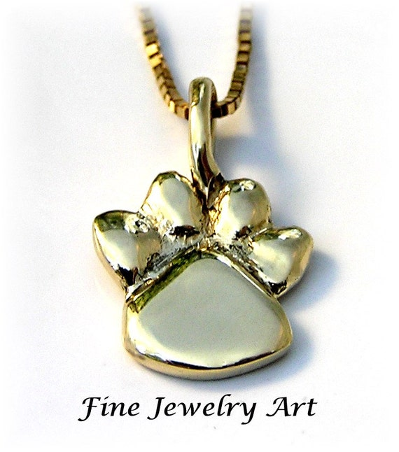 Solid 14k Yellow Gold  Paw Print Necklace Handmade - Sculptural Paw Print Pendant Design - High Polish Finish