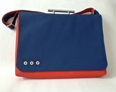 SALE Laptop/Briefcase in Blue and Orange Free US Shipping