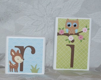 Personalized Baby Name Block Letters . Forest Friends for Girl . Aria