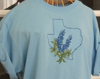 Texas Bluebonnet T-Shirt in Embroidered Cross Stitch Design Blue T-Shirt