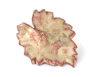 Ceramic Leaf Magnet - handbuilt earthenware beige tan magnet home decoration terracotta red clay pottery magnet gift