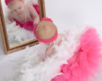 Baby Girl 6 to 9 months Hot Pink Portrait Tutu, Boa and Pearls