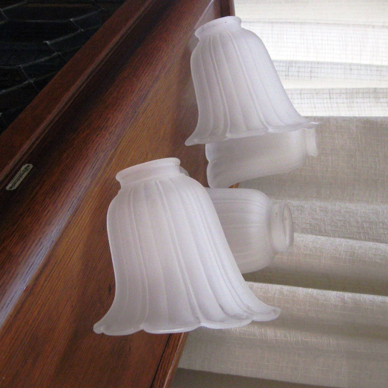 Vintage Lamp Shades Frosted Glass Tulip Shape Ridged Set Of