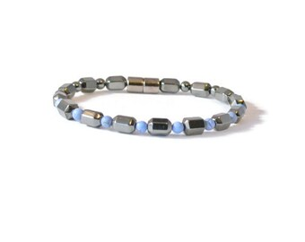 Black Magnetic Hematite Therapy Bracelet w/ Blue Denim Beads, Arthritis Jewelry