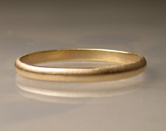 Women's Gold Wedding Band, 2mm recycled 14k Gold Ring, Gold Wedding Ring, 14k Gold Band