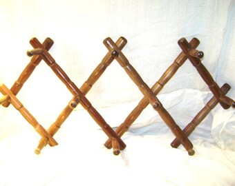 Vintage Peg Rack, Asian Bamboo Style Unusual Design Accordion Wall Hanger, Wood, Cottage Style Wooden Organizer, Dark Stained, Nevco Revco