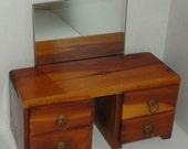 Mid Century Doll Wood Dresser with Mirror. Jewelry box. Eureka Springs.