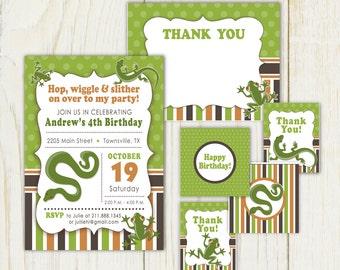 Reptile Theme Birthday Invitation - snake - Digital files