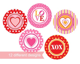 Printable Cupcake Toppers - hearts - instant download