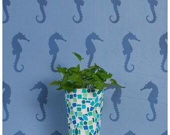 Seahorses Allover Stencil Pattern - reusable stencil patterns for walls - better than wallpaper - DIY decor