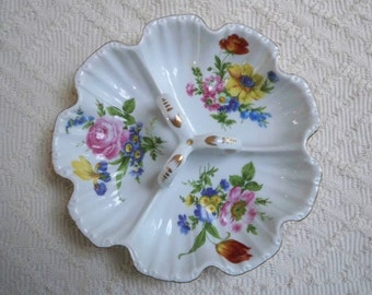 Vintage Serving Divided Dish with Handle Floral Design by Royal Danubee.