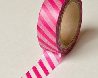 Washi Tape - 15mm - Magenta and White Diagonal Stripe - Deco Paper Tape No. 777