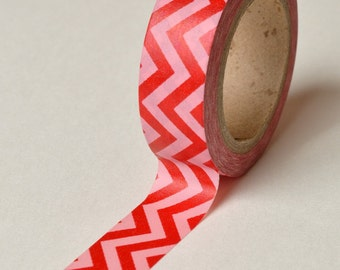 Washi Tape - 15mm - Red Chevron on Pink - Deco Paper Tape No. 129