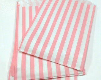 Set of 275 - Traditional Sweet Shop Pink Candy Stripe Paper Bags - 5 x 7 - New Style