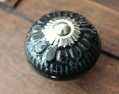 Large Black Embossed Ceramic Drawer Knobs / Cabinet Pulls (CK59)