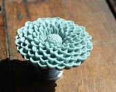 Flower Drawer knobs - Cabinet Knobs Mum in Light Grey LARGE, more COLORS (RFK12)