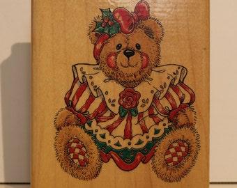 Christmas Teddy Bear Holly Rubber Stamp