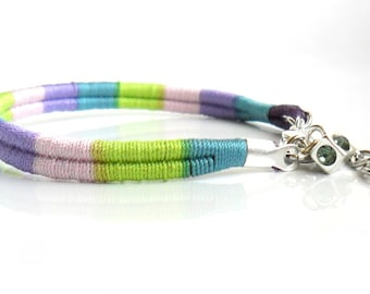Hand woven Cotton Bracelet in pastel shades with charm  Bohemian  Chic Organic minimal bracelet