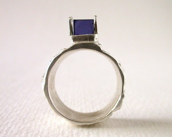 Iolite Ring Jewelry Sterling Silver Ring With Natural Iolite Cube Made In Your Size