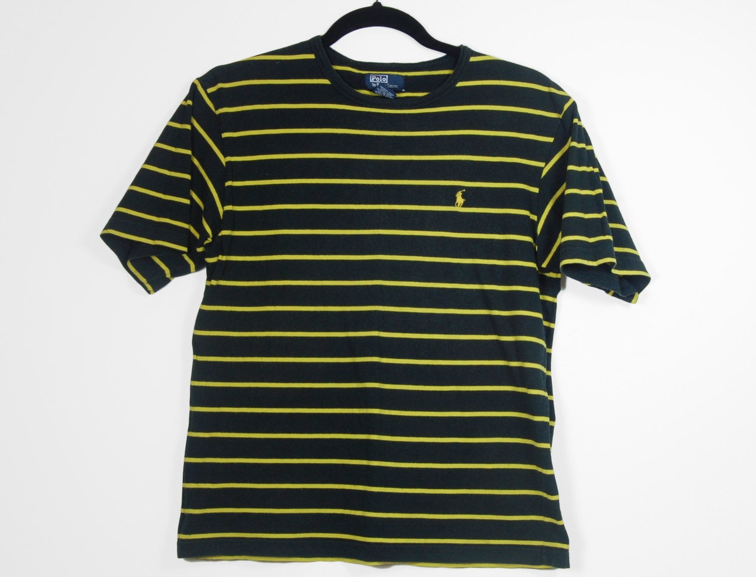 90 39 s polo ralph lauren black and yellow striped t shirt