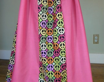 Pink Peace Sign Long Skirt